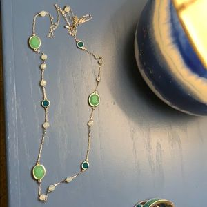 Long lia Sophia necklace - blues teals and silver